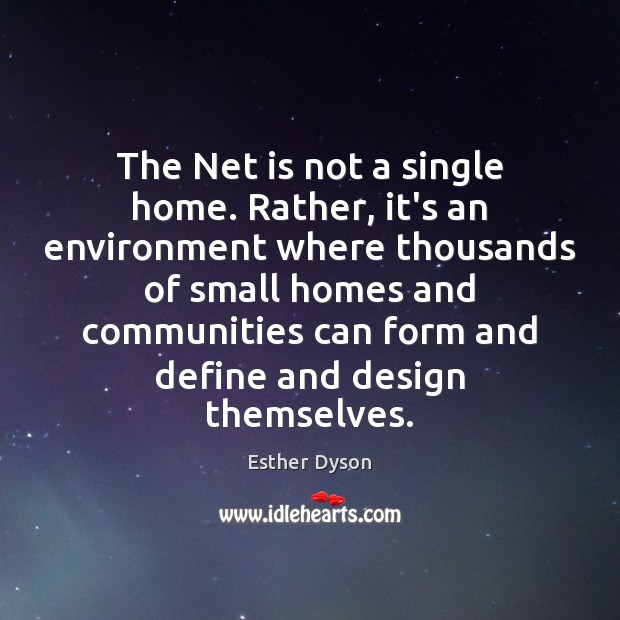 The Net is not a single home. Rather, it's an environment where Esther Dyson Picture Quote