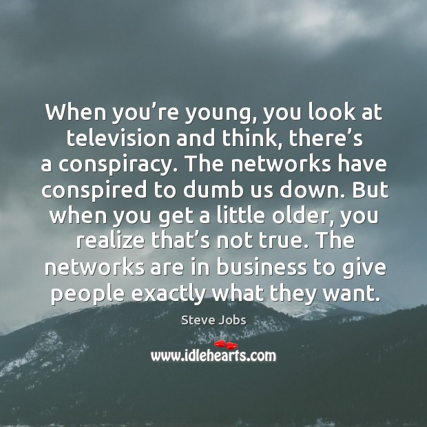 The networks are in business to give people exactly what they want. Image