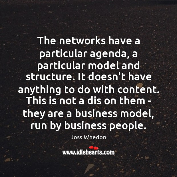 Image, The networks have a particular agenda, a particular model and structure. It