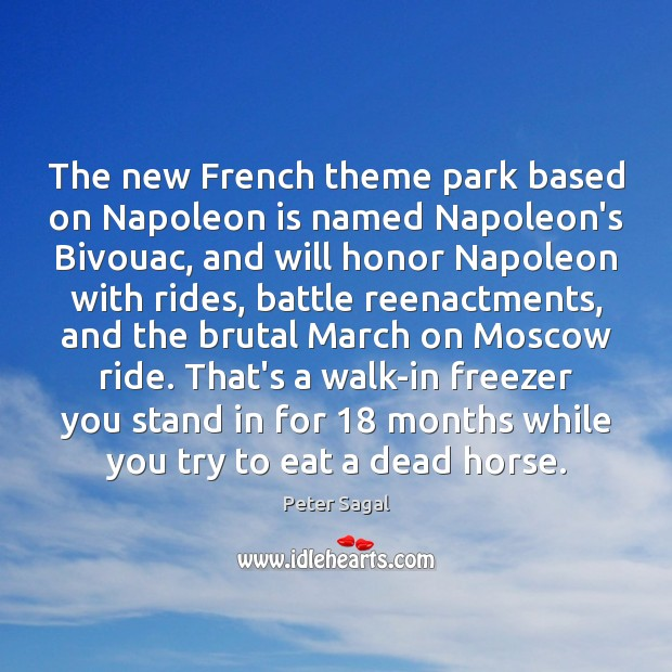 The new French theme park based on Napoleon is named Napoleon's Bivouac, Image