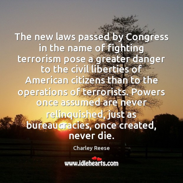The new laws passed by Congress in the name of fighting terrorism Charley Reese Picture Quote