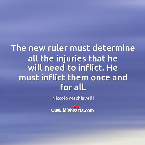 Image, The new ruler must determine all the injuries that he will need to inflict. He must inflict them once and for all.