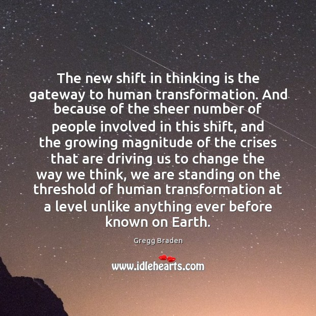 The new shift in thinking is the gateway to human transformation. And Image
