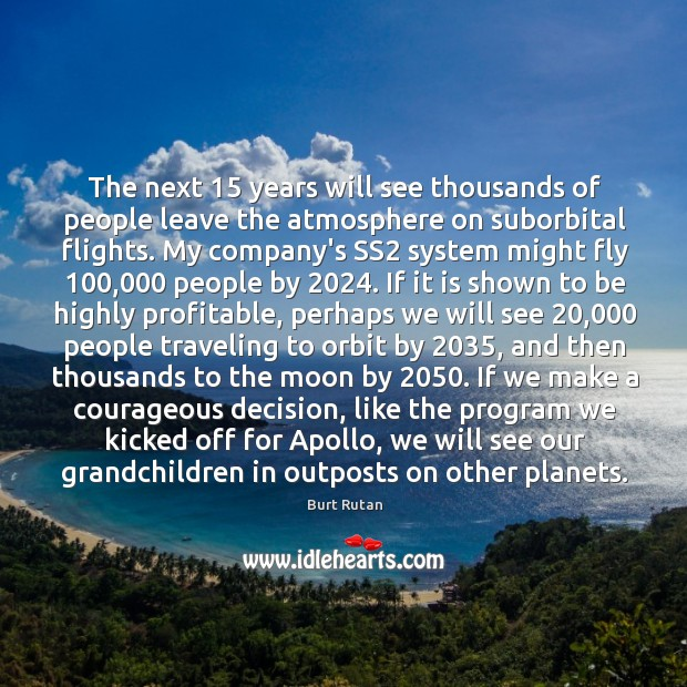 The next 15 years will see thousands of people leave the atmosphere on Image