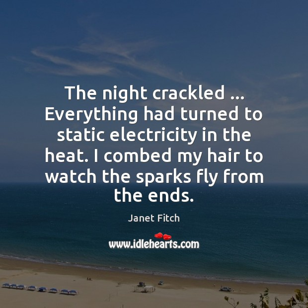 The night crackled … Everything had turned to static electricity in the heat. Image