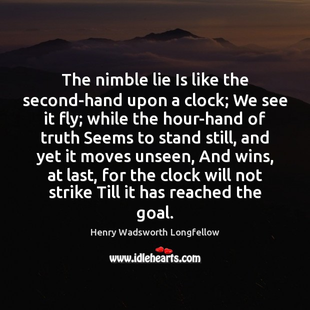 Image, The nimble lie Is like the second-hand upon a clock; We see