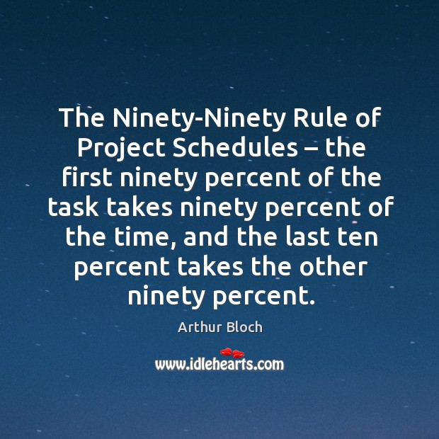 The ninety-ninety rule of project schedules – the first ninety percent of the task Image