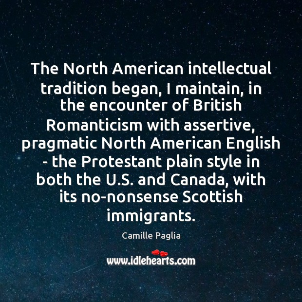 The North American intellectual tradition began, I maintain, in the encounter of Image
