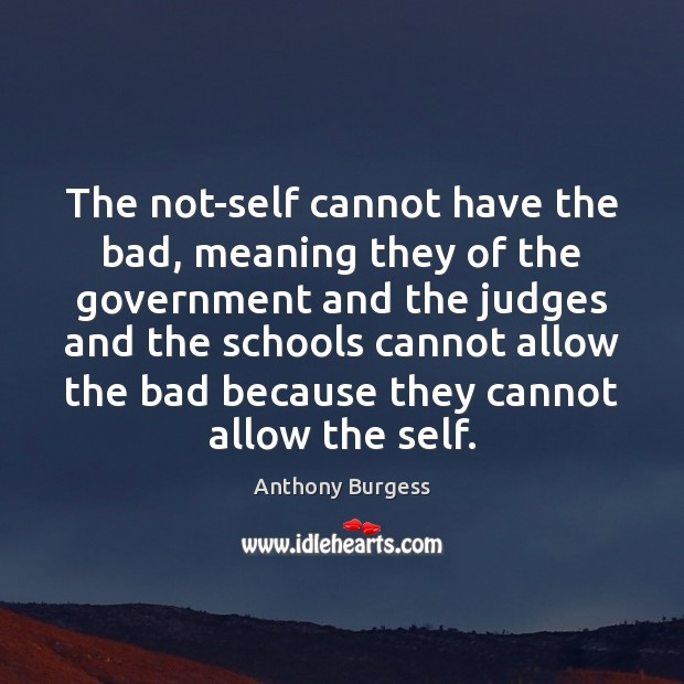 Image, The not-self cannot have the bad, meaning they of the government and