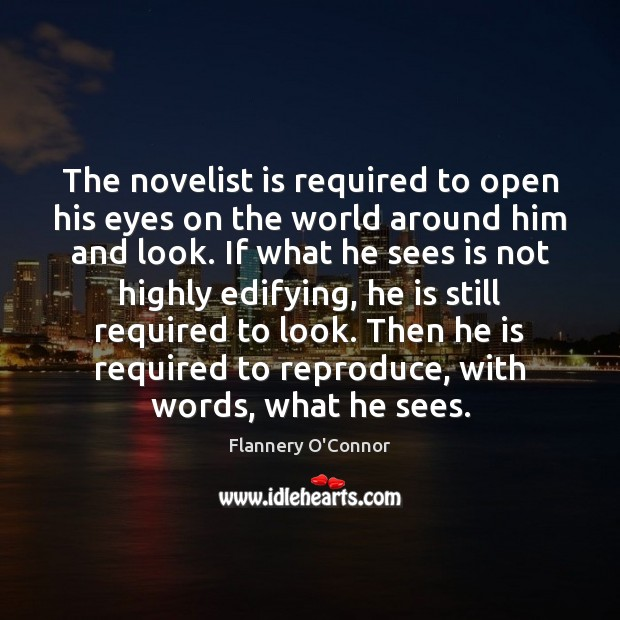 Image, The novelist is required to open his eyes on the world around
