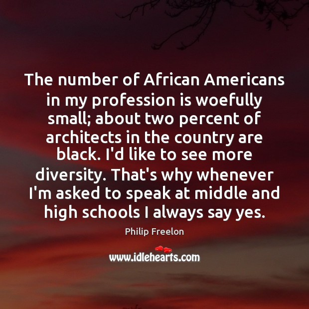 The number of African Americans in my profession is woefully small; about Image