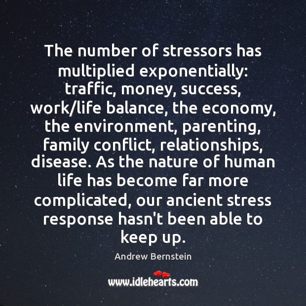Image, The number of stressors has multiplied exponentially: traffic, money, success, work/life