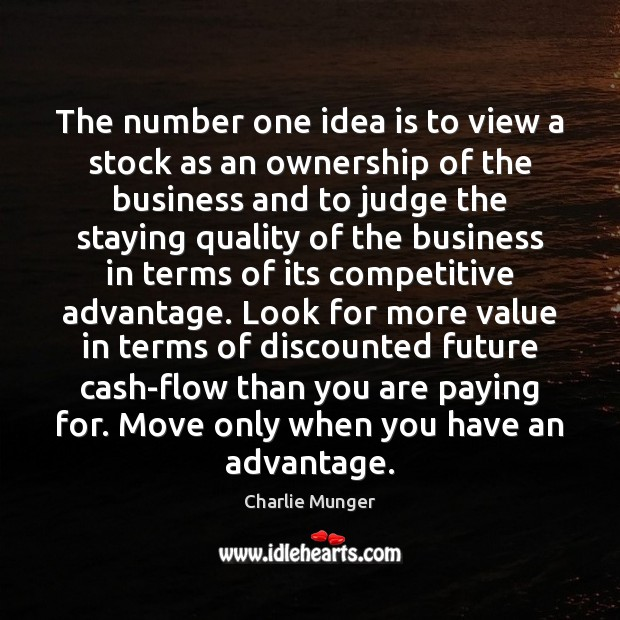 The number one idea is to view a stock as an ownership Charlie Munger Picture Quote