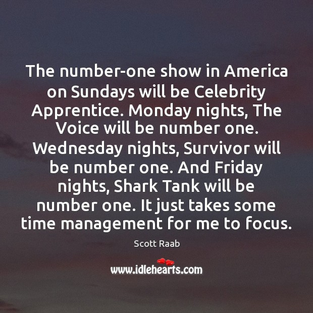 The number-one show in America on Sundays will be Celebrity Apprentice. Monday Image