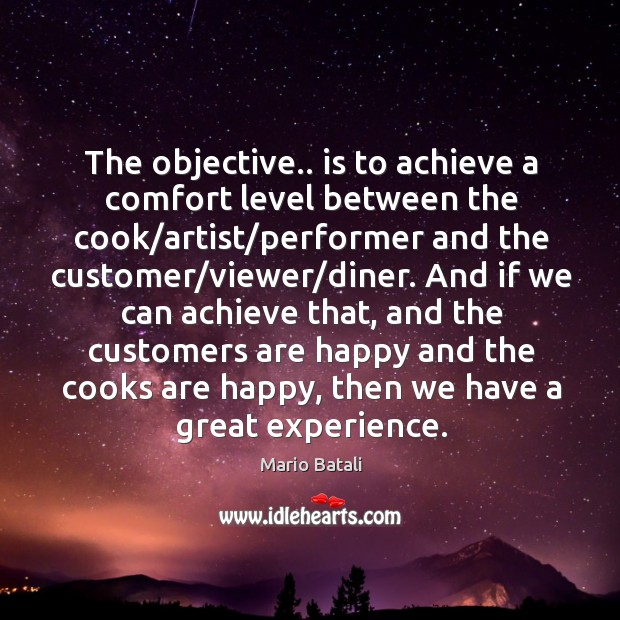 The objective.. is to achieve a comfort level between the cook/artist/ Mario Batali Picture Quote