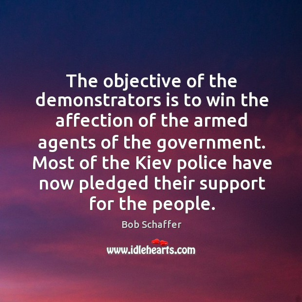 The objective of the demonstrators is to win the affection of the armed agents of the government. Image