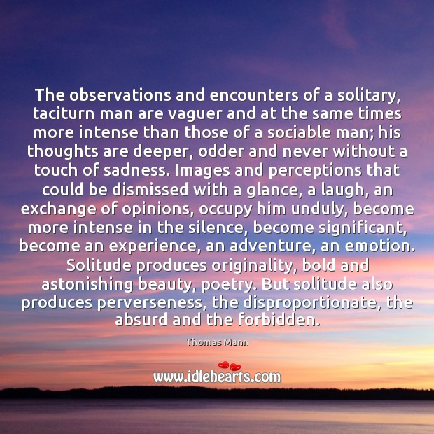 Image, The observations and encounters of a solitary, taciturn man are vaguer and