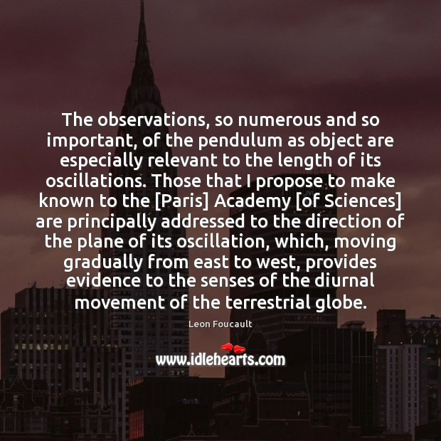 The observations, so numerous and so important, of the pendulum as object Image