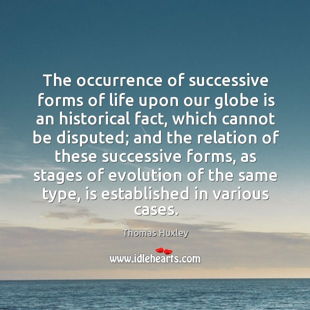 The occurrence of successive forms of life upon our globe is an Image