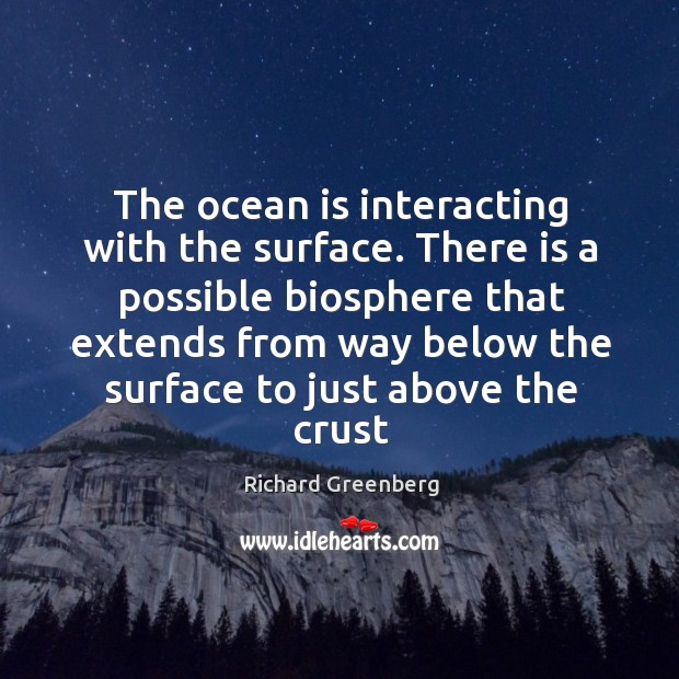 The ocean is interacting with the surface. There is a possible biosphere Image