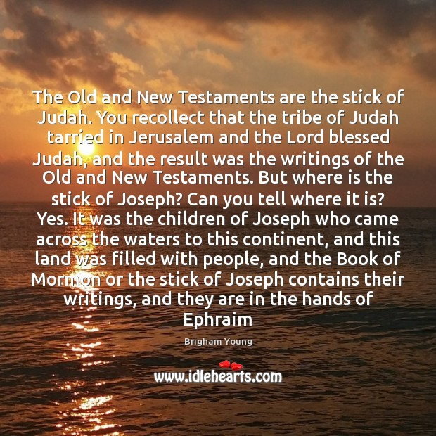 The Old and New Testaments are the stick of Judah. You recollect Image