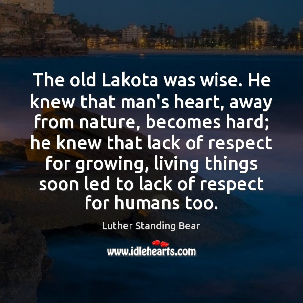 The old Lakota was wise. He knew that man's heart, away from Image