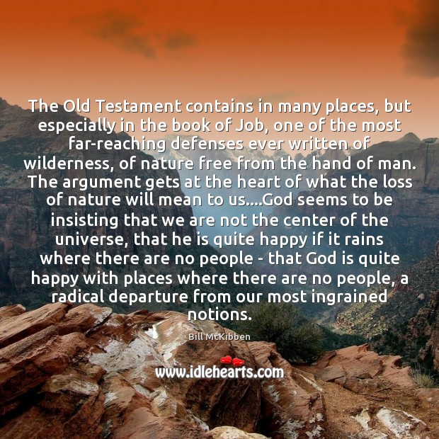 The Old Testament contains in many places, but especially in the book Bill McKibben Picture Quote