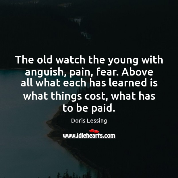 The old watch the young with anguish, pain, fear. Above all what Doris Lessing Picture Quote