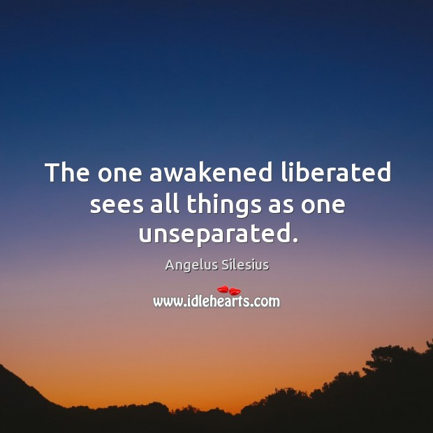 The one awakened liberated sees all things as one unseparated. Image