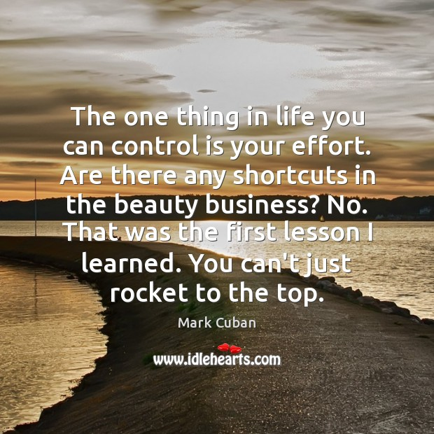 The one thing in life you can control is your effort. Are Mark Cuban Picture Quote