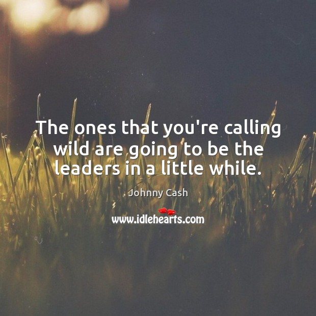 The ones that you're calling wild are going to be the leaders in a little while. Johnny Cash Picture Quote