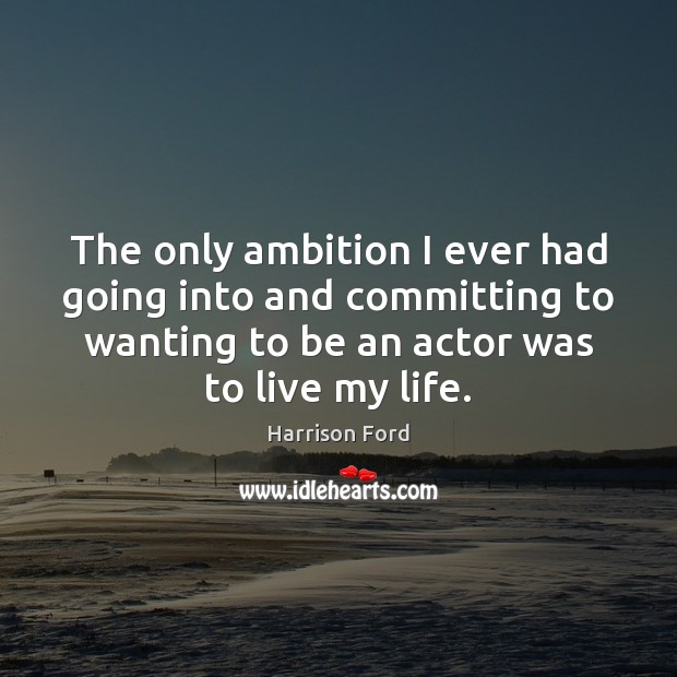 Image, The only ambition I ever had going into and committing to wanting
