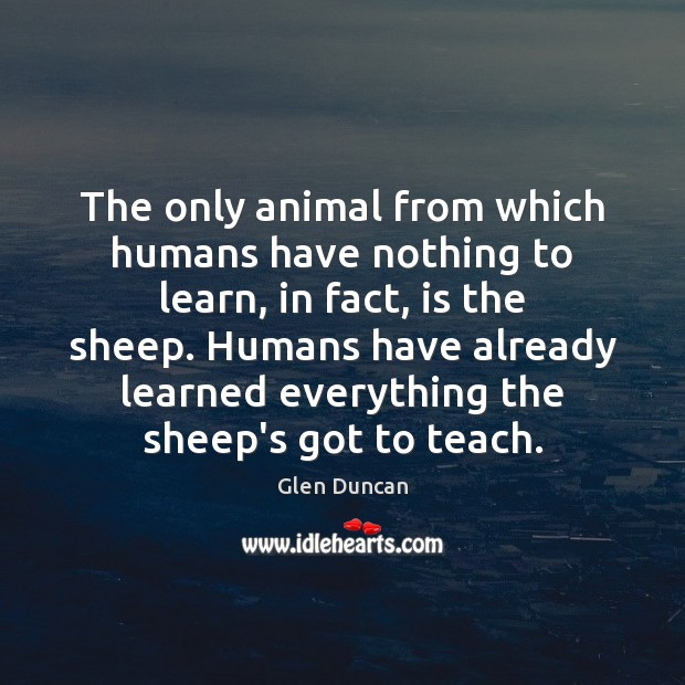 Image, The only animal from which humans have nothing to learn, in fact,