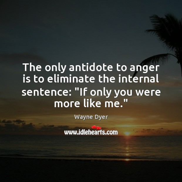 """The only antidote to anger is to eliminate the internal sentence: """"If Anger Quotes Image"""