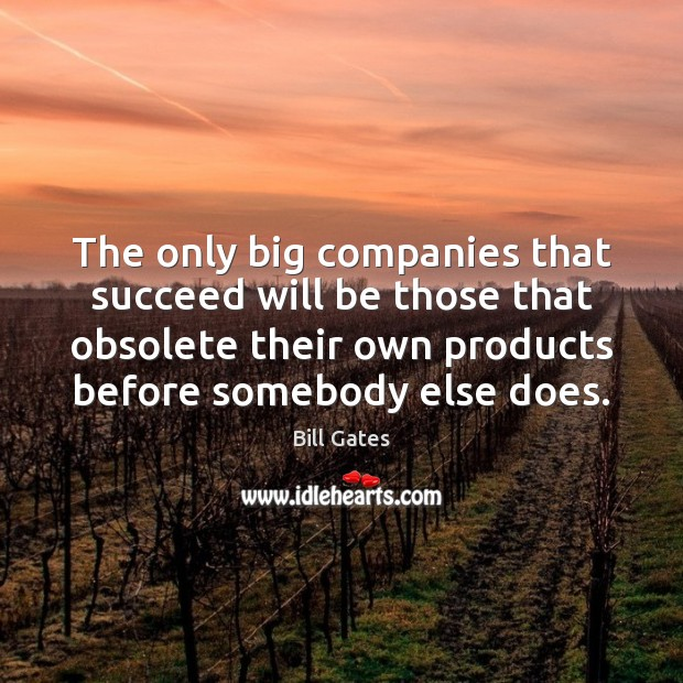 The only big companies that succeed will be those that obsolete their Image