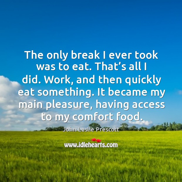 Image, The only break I ever took was to eat. That's all I did. Work, and then quickly eat something.