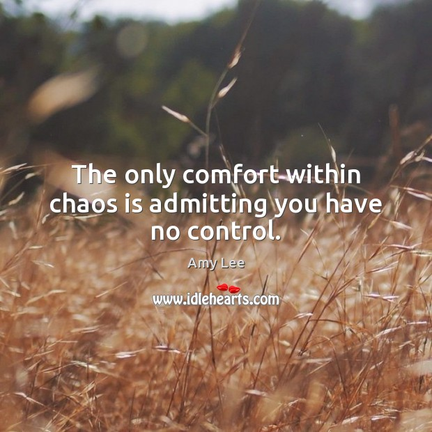 Image, The only comfort within chaos is admitting you have no control.