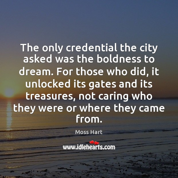 The only credential the city asked was the boldness to dream. For Boldness Quotes Image