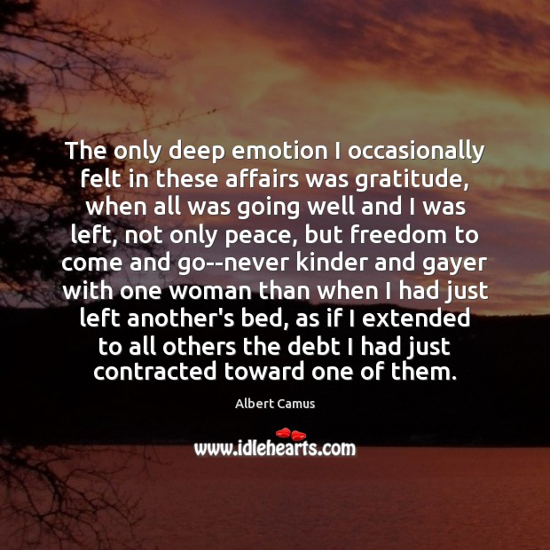 Image, The only deep emotion I occasionally felt in these affairs was gratitude,