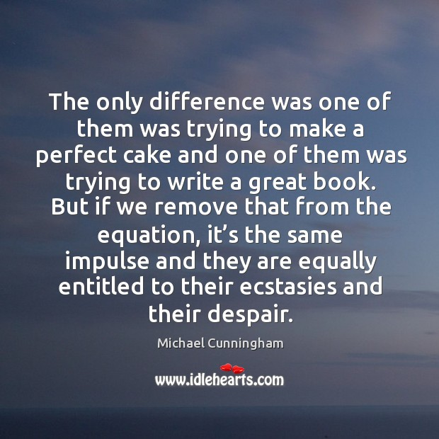 The only difference was one of them was trying to make a perfect cake and one of them was Image