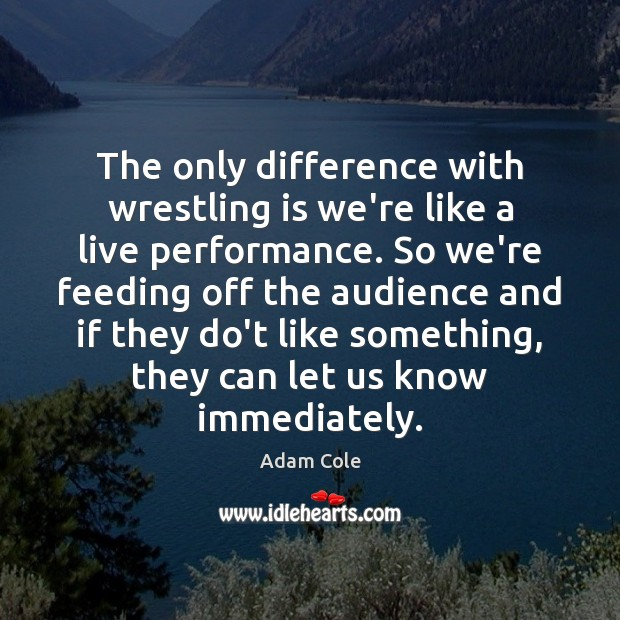 Image, The only difference with wrestling is we're like a live performance. So