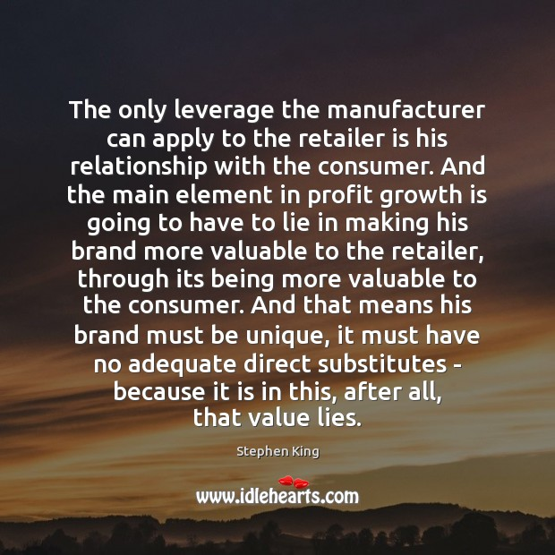 The only leverage the manufacturer can apply to the retailer is his Image