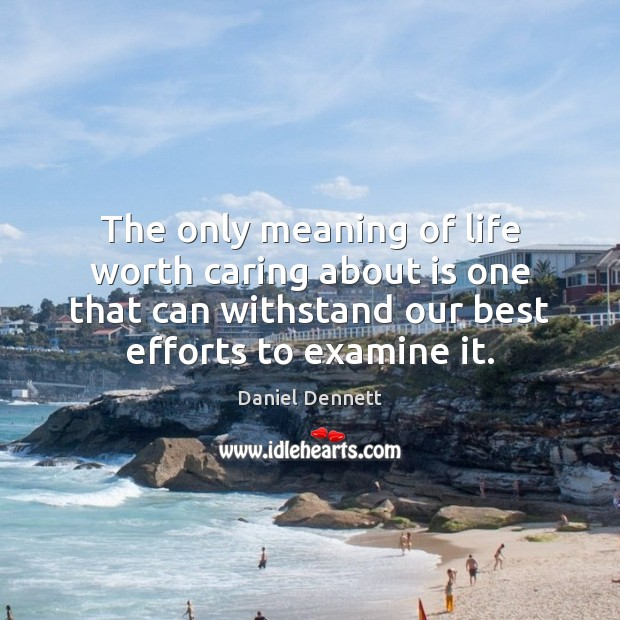 Image, The only meaning of life worth caring about is one that can