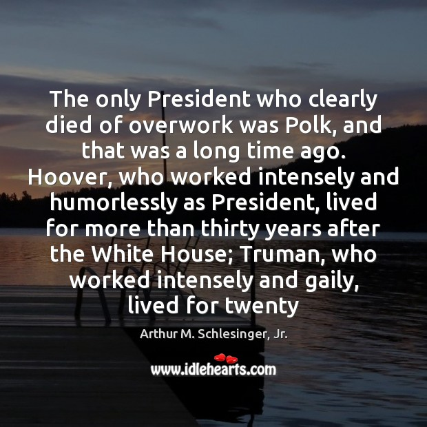 The only President who clearly died of overwork was Polk, and that Arthur M. Schlesinger, Jr. Picture Quote