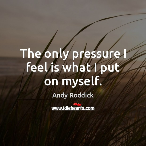 The only pressure I feel is what I put on myself. Andy Roddick Picture Quote