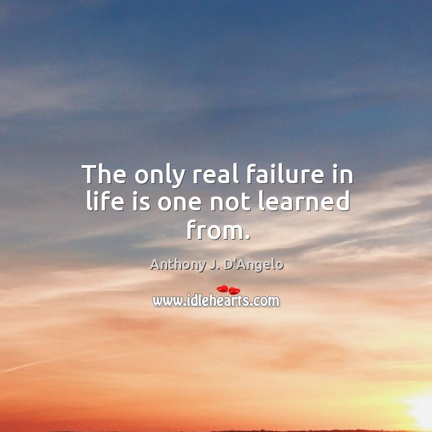 The only real failure in life is one not learned from. Image