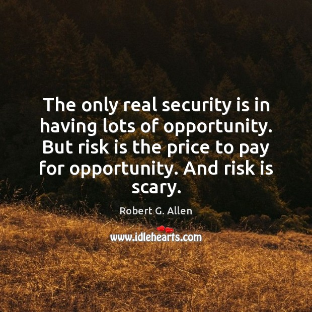 The only real security is in having lots of opportunity. But risk Image
