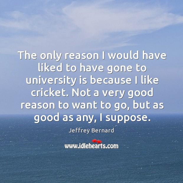 The only reason I would have liked to have gone to university is because I like cricket. Image