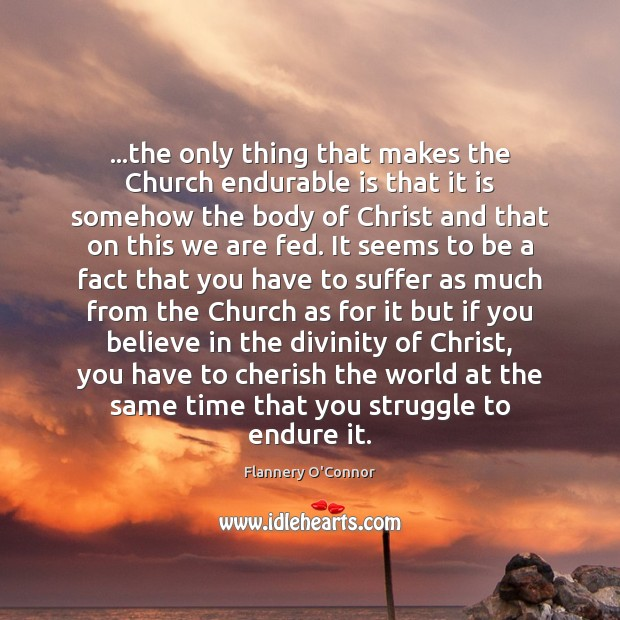 Image, …the only thing that makes the Church endurable is that it is
