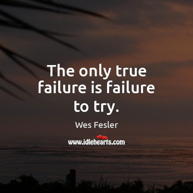 The only true failure is failure to try. Wes Fesler Picture Quote